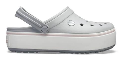 crocs crocband platform clog light grey/rose