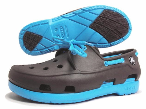 crocs originales: beach lace gs azul eléctric talla j4 34