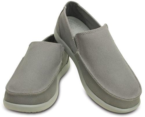 crocs originales santa cruz clean cut loafer gris hombre 07z