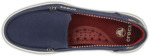 crocs originales walu canvas loafer women azul