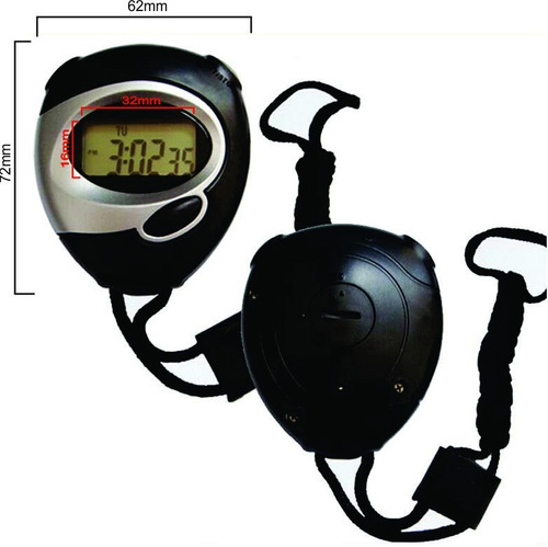 cronômetro digital com relógio data e cordão