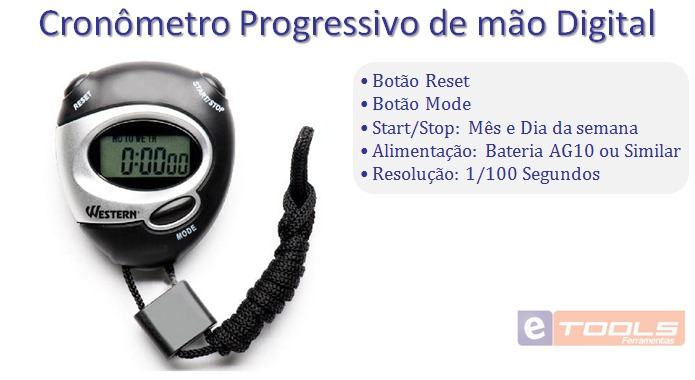50f438b2d56 Cronômetro Progressivo De Mão Digital C  Alarme Western Cr53 - R  22 ...