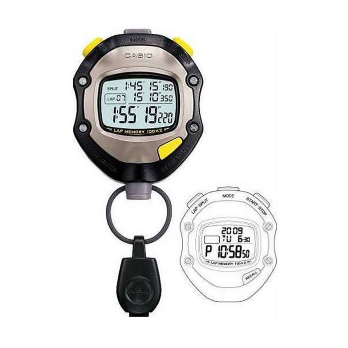 8877e2ab42d2 Cronómetro Casio Hs-70w Lap Memory 100x2 C  Hora Profesional ...