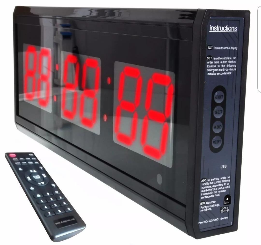 2b8586483272 Cronometro Parede Led Digital Grande Painel Academia 48 Cm - R  311 ...