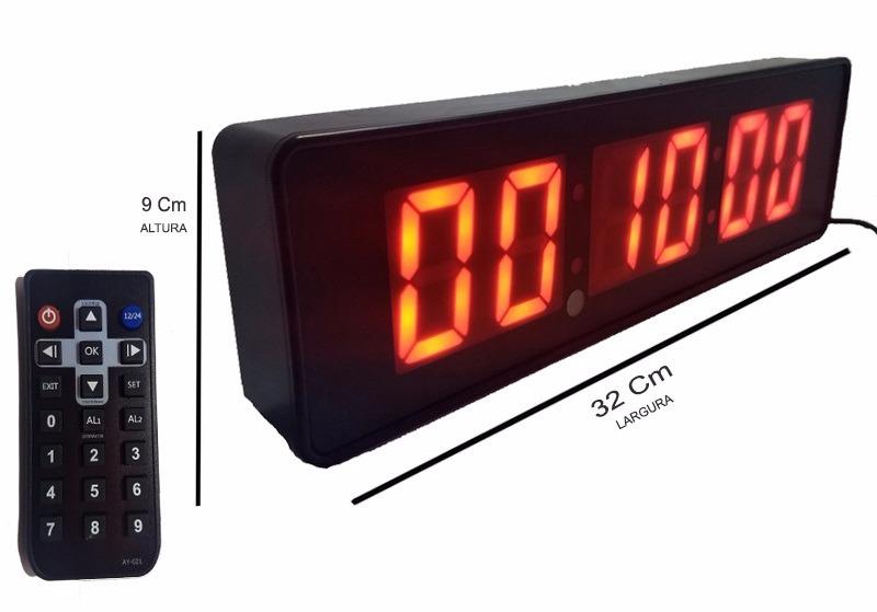 a2132a16ef9 Cronometro Relogio Parede Digital Led P + Controle Adicional - R ...