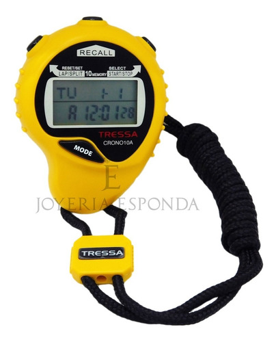 cronómetro tressa 10 a memorias deportivo amarillo j esponda