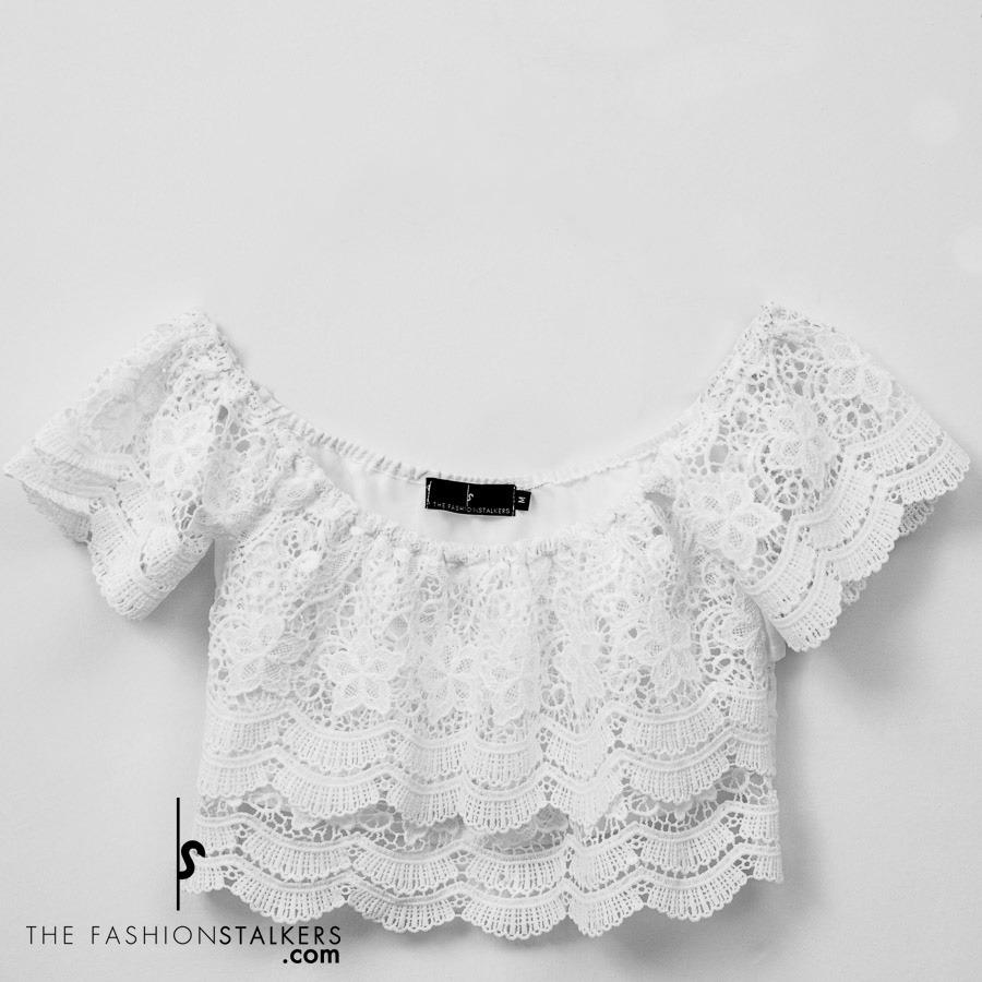 0736770fa4ea8 top blanco sin crop hombros mujer zoom bardot Cargando encaje Fqw66AT
