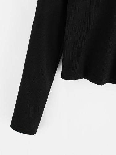 crop top beatle basico negro manga larga mujer
