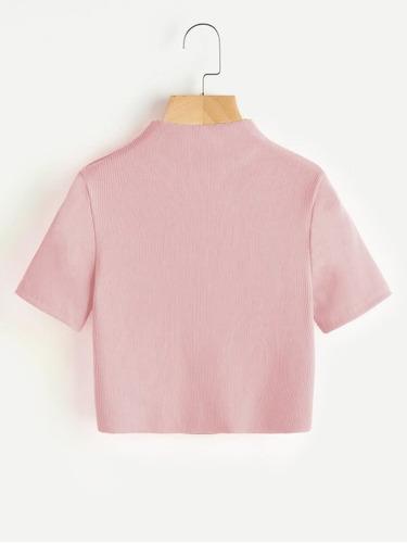 crop top beatle hilo mujer moda rosa pastel