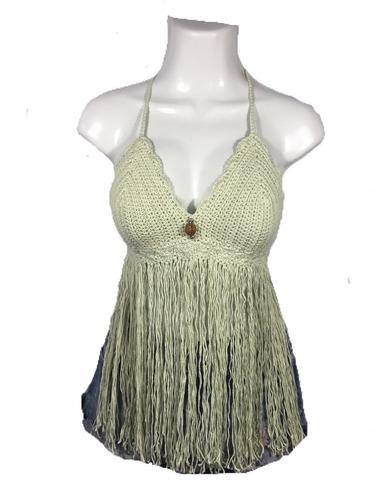 crop top crochet coachella style flecos largos