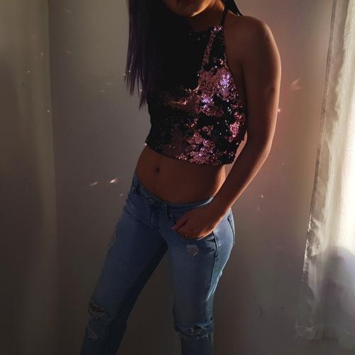 crop top halter fiesta polera lentejuelas bicolor mujer