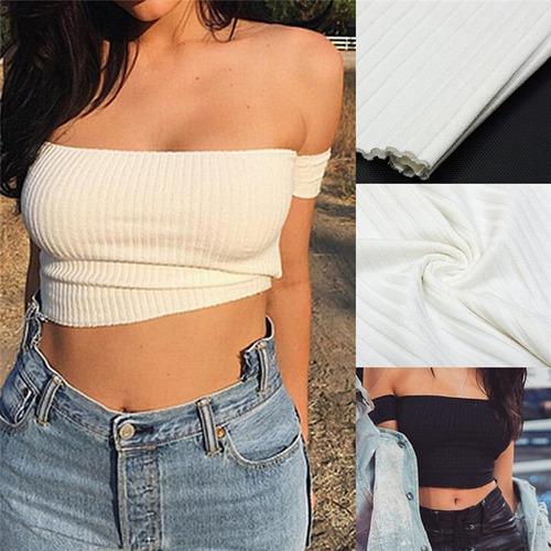crop top sin hombros polera mujer blanco y negro moda