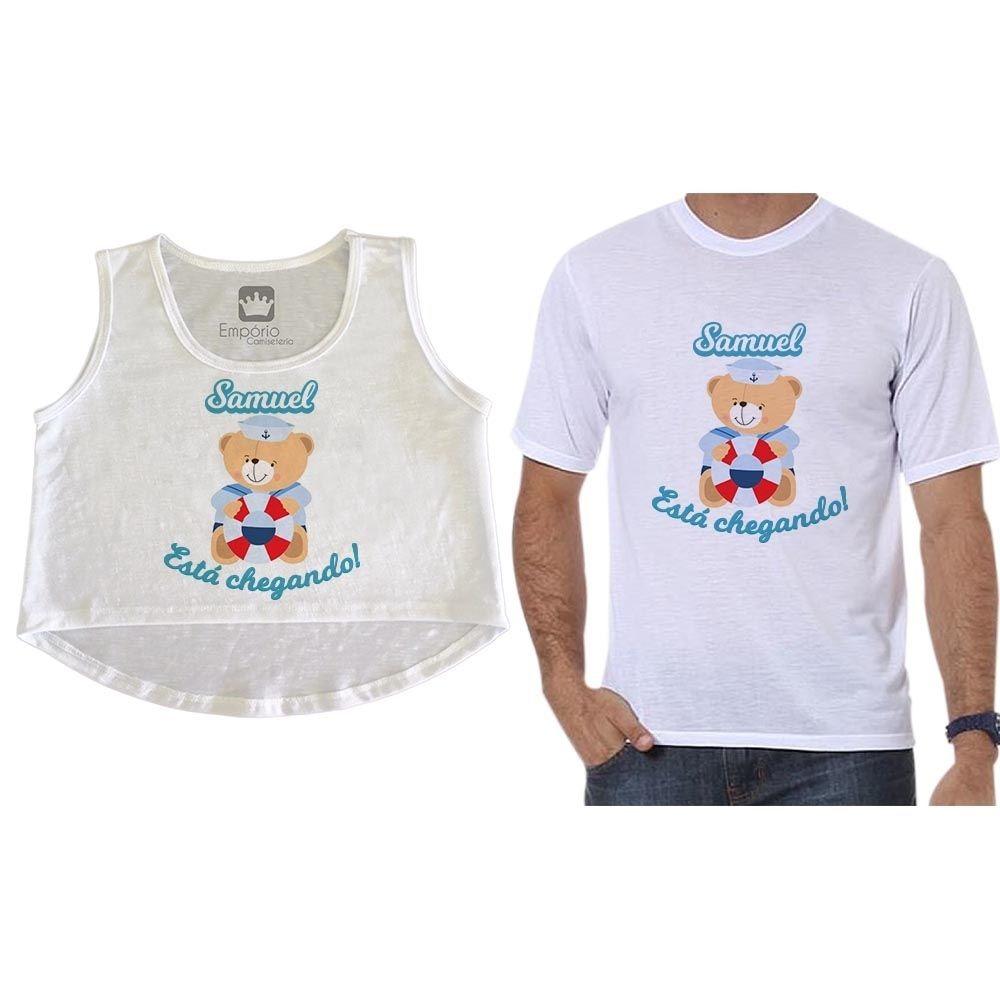 Cropped E Camiseta Gestante Personalizado Ursinho Marinheiro