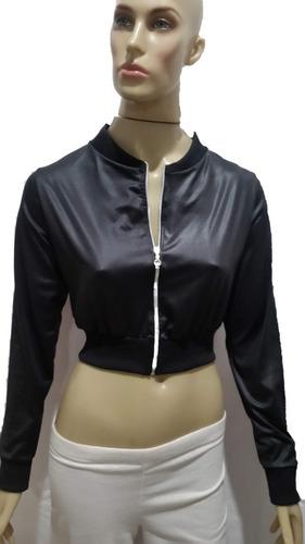 cropped estilo jaquetinha com ziper sem bolso de cirrê  &