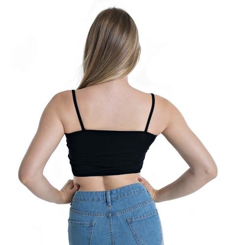 cropped faixa com alcinha blusa regata feminina top malha