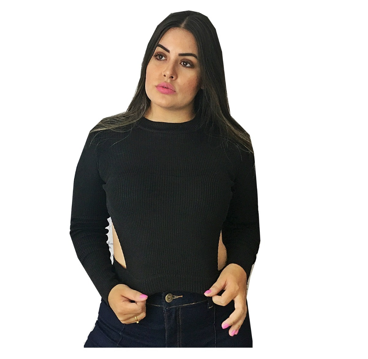 5237411359 cropped feminino manga longa blusa de frio canelado tricot. Carregando zoom.