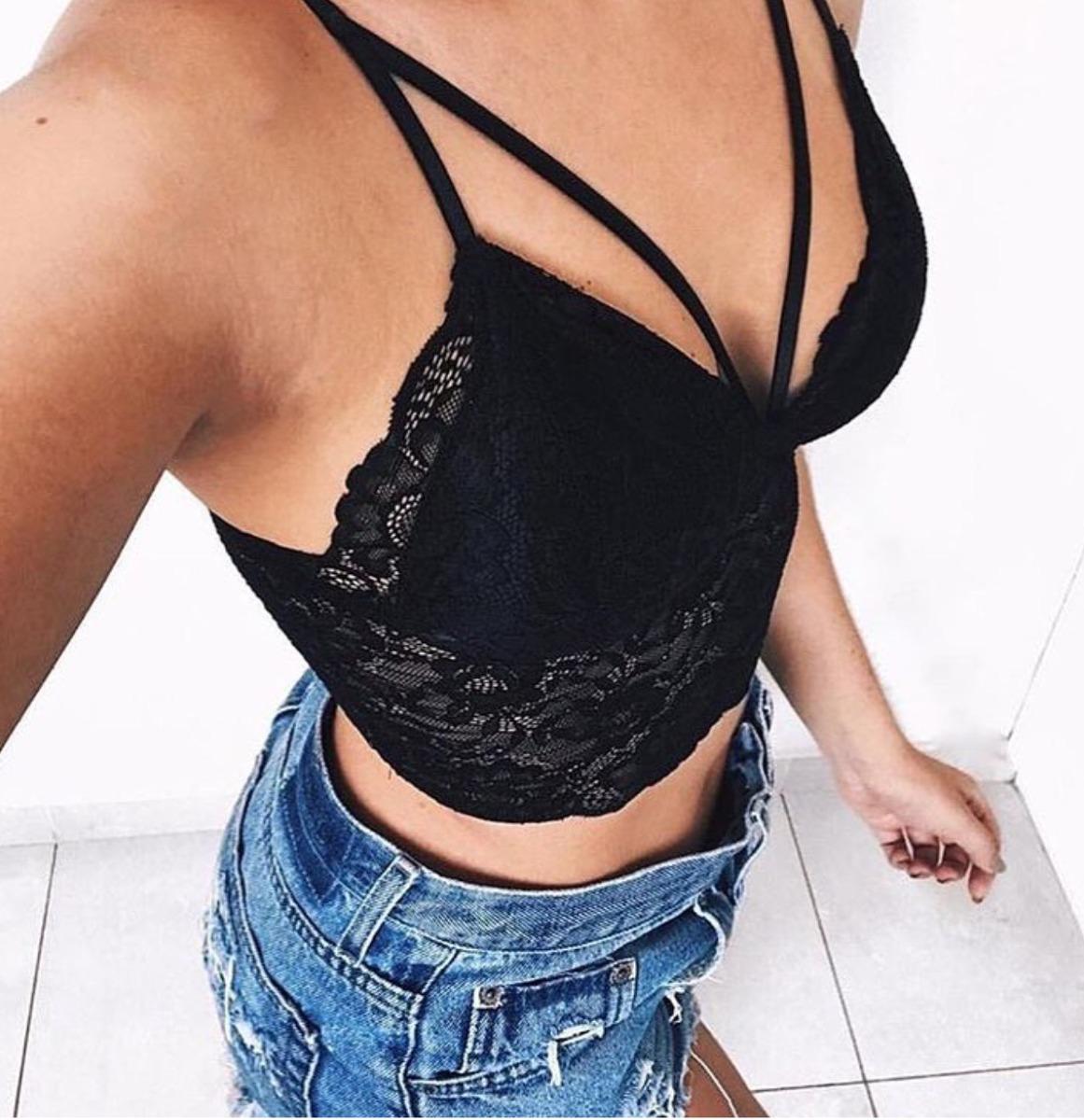 a66feb7a4 cropped renda sutian top blusa feminina strappy bojo moda. Carregando zoom.