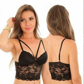 ebe14ff97 Cropped Renda Sutian Top Blusa Feminina Strappy Bojo Moda