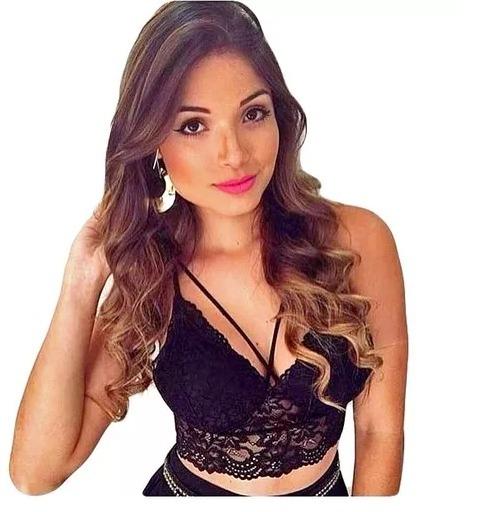 878760e1d Cropped Renda Tiras Com Bojo Blusa Top Sutiã Moda Blogueiras - R  20 ...