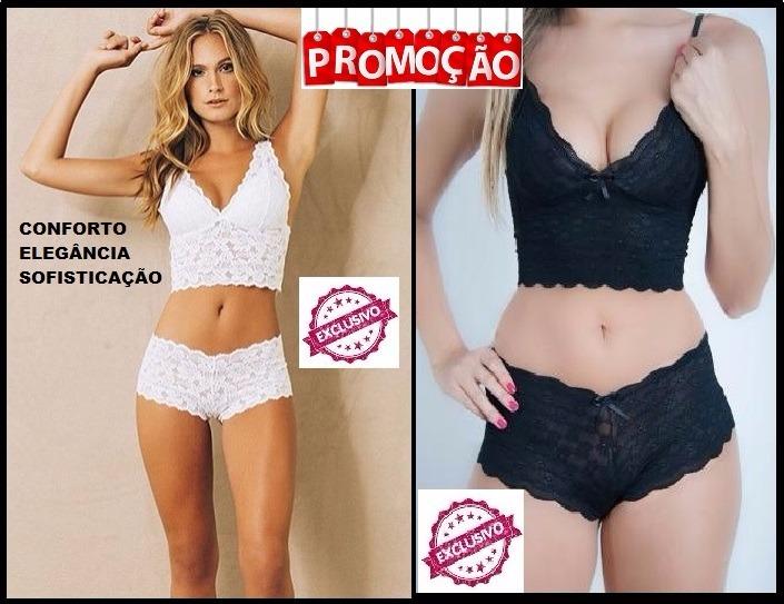 479aee85e Cropped Sutiã E Calcinha Caleçon Com Renda Sem Bojo Promoção - R  29 ...