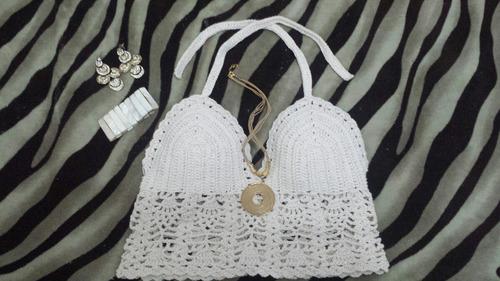 cropped top blusinha crochet verão com ou sem bojo