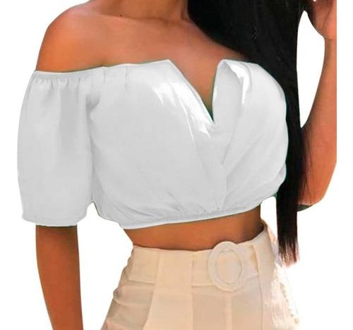 cropped top feminino ciganinha blusa decote v com bojo