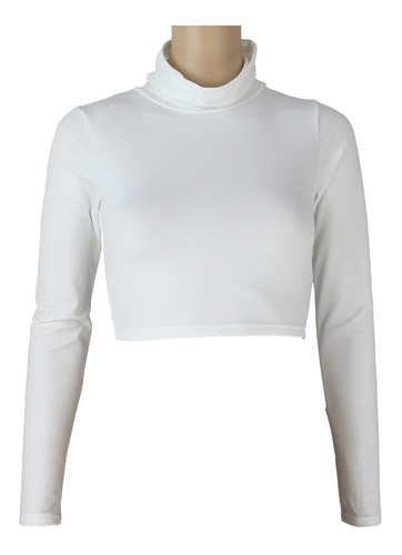cropped top solid cor stretchy high turtle pescoço longo