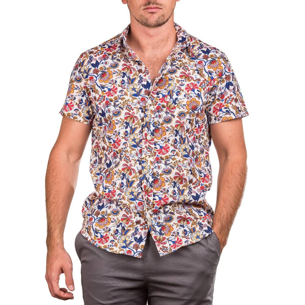 crouch - camisa manga corta - hombre - estampada flores. Cargando zoom. 39a84fe8bae72