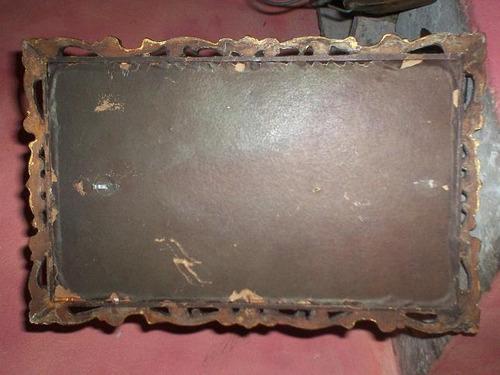 crucifijo s/ terciopelo enmarcado madera dorada