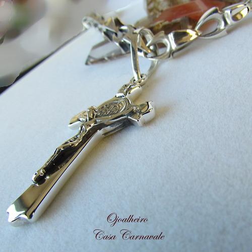 crucifixo com medalha de são bento em prata maciça ojoalheir