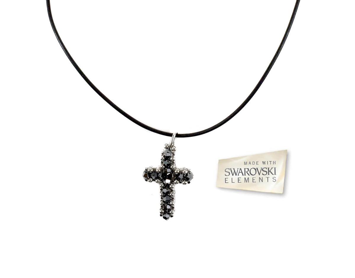 586a9d0f17b Crucifixo Cristais De Swarovski Prata Importado Da Itália - R  415 ...