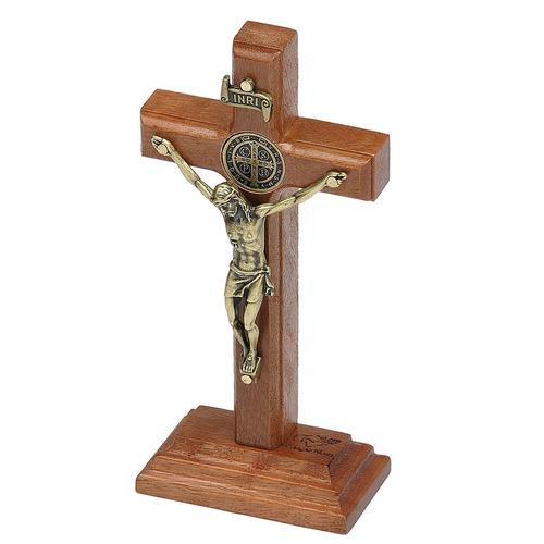 crucifixo madeira  mesa (12cm) com são bento oval