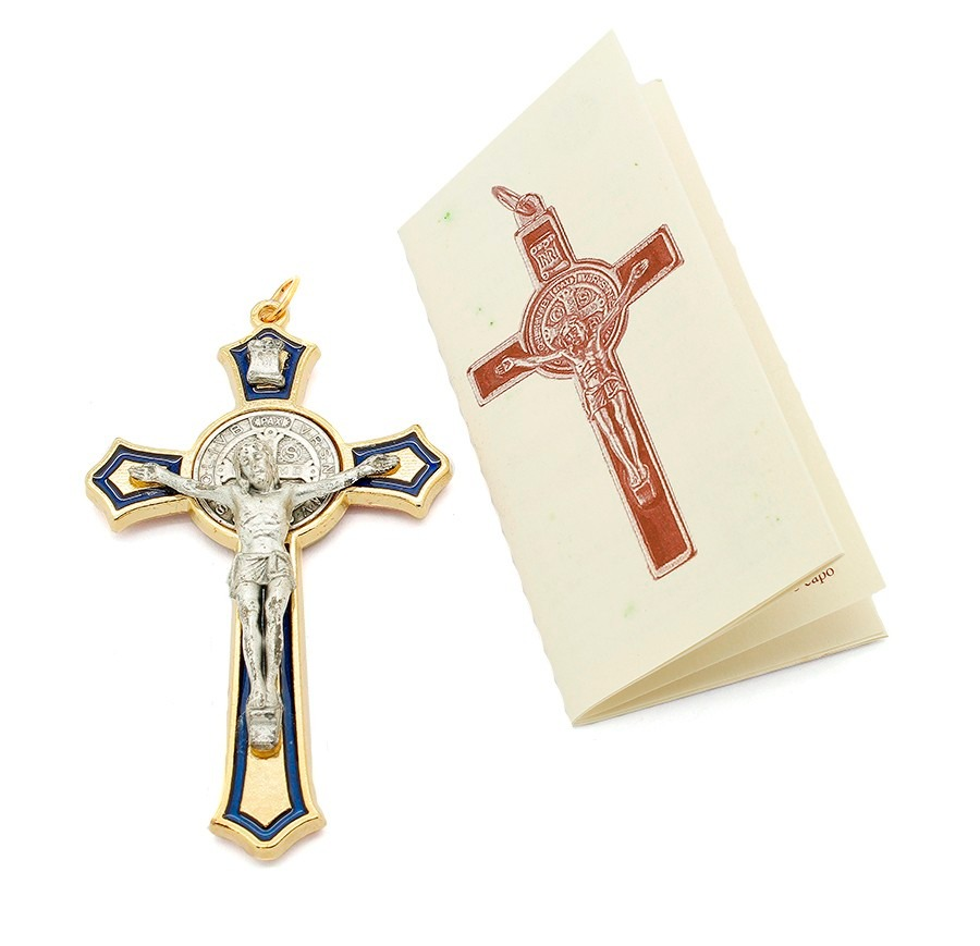 Crucifixo São Bento Dourado - Detalhe Resina Azul Italiano - R  33 ... 9393a5db22a5a