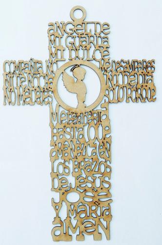 cruz ángel con oración mdf 20 cm recuerdo regalo bautismo