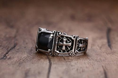 cruz anillo acero inoxidable zirconia unisex hombre mujer y2