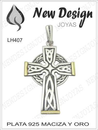 cruz celta o san patricio plata maciza 925 y oro