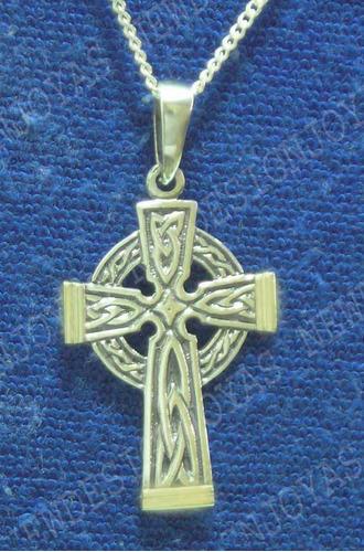 cruz celta o san patricio plata maciza 925 y oro y cadena