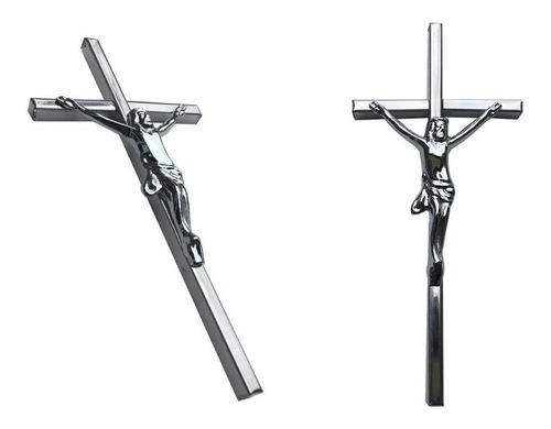 cruz con cristo para nicho, 30cm. bronce cromado. cementerio
