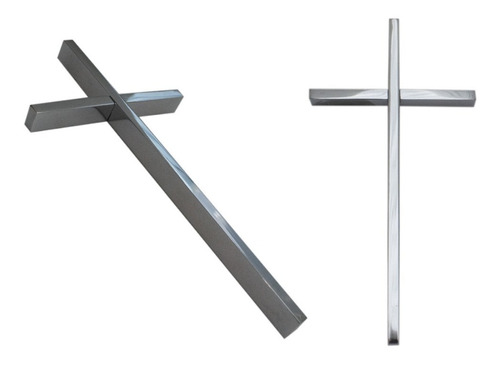 cruz cromada para cementerio, 14cm. accesorio lapidas, nicho