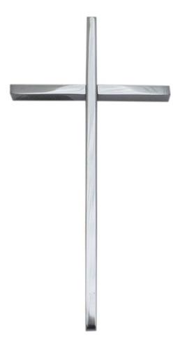 cruz cromada para cementerio, 20cm. accesorio lapidas, nicho