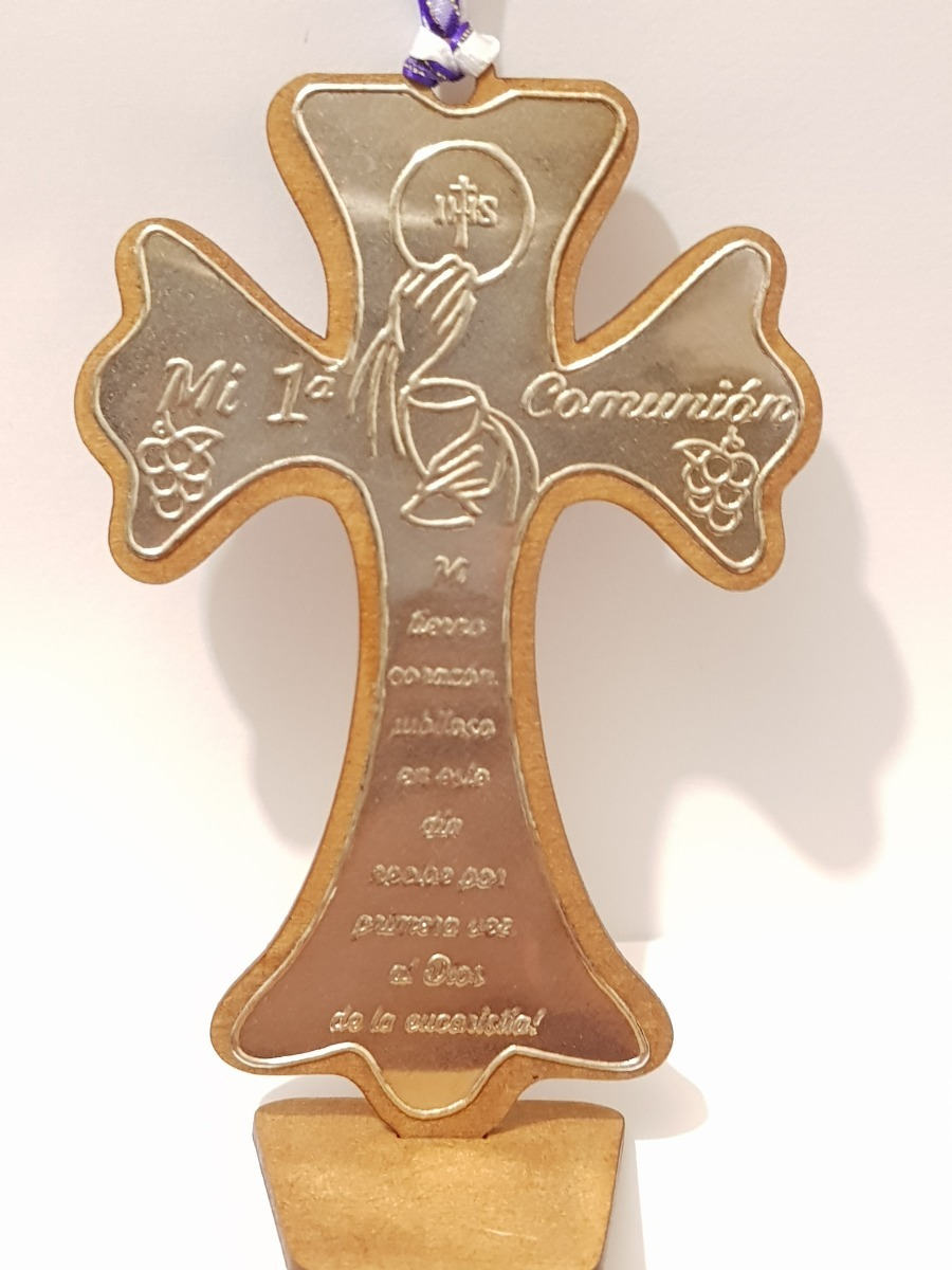 e9bc9b30964 cruz de madera con placa de repujado para primera comunion. Cargando zoom.
