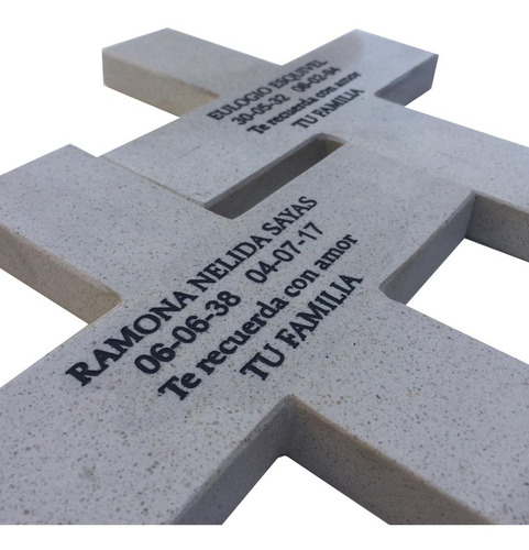 cruz de marmol grabada para cementerio, 38x27cm.