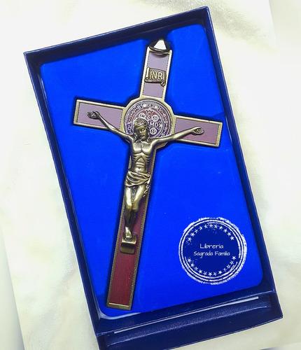 cruz de san benito en acero 18 cm.