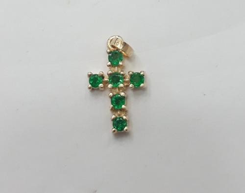 cruz en oro con esmeralda joyeria greenworld