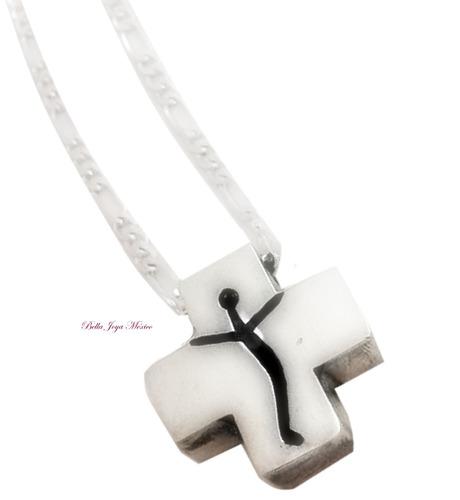 cruz equilibrada y cadena plata .925 dios amor fe devoción