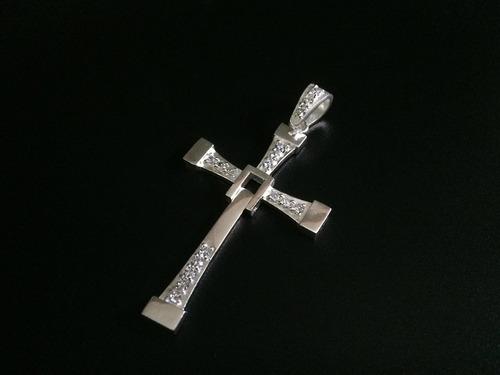 cruz grande de toretto rápido y furioso plata ley 925 taxco 7cmx4cm con zirconia