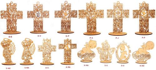 cruz mdf ángel personalizado 15 cm recuerdo bautizo madera