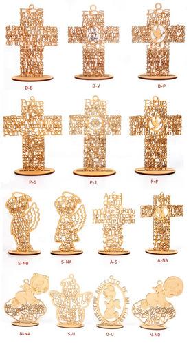 cruz mdf ángel personalizado 20 cm recuerdo bautizo madera