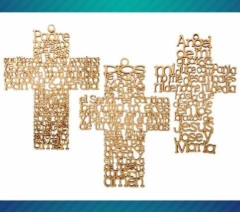 cruz mdf cruces padre angel recuerdo regalo bautizo 20 cm am