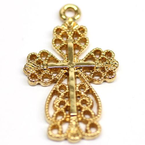 cruz ondas con cadena de ancla en chapa de oro 22 k